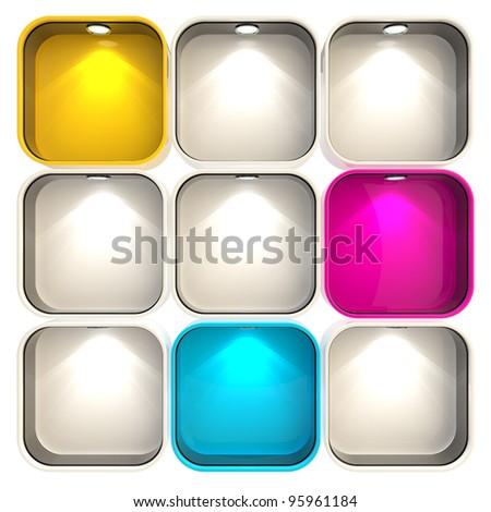Shop window copyspace showcase with backlight illumination, set of nine isolated on white - stock photo