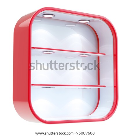 Shop window copyspace square red and white showcase with backlight illumination and shelf isolated on white - stock photo