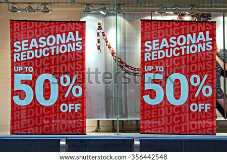 Shop window display in the post christmas sales - stock photo