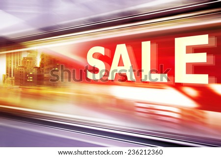 Shop Window With Sale Sign at night - stock photo