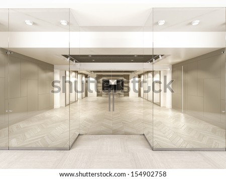 Shop with glass windows and doors - stock photo
