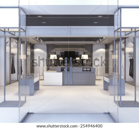 Shop with glass windows and doors. 3d rendering - stock photo