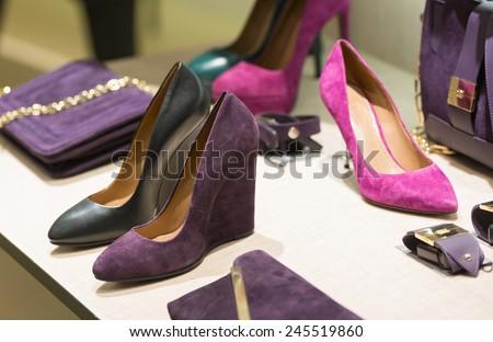 Shop women's fashion shoes - stock photo