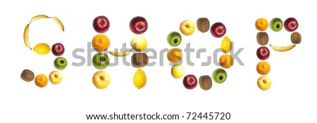 Shop word made of different of fruits