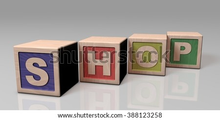 SHOP written with wooden blocks - stock photo