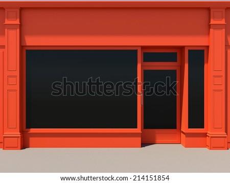 Shopfront with large windows. Orange store facade. - stock photo