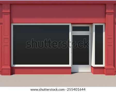 Shopfront with large windows. Red store facade. - stock photo