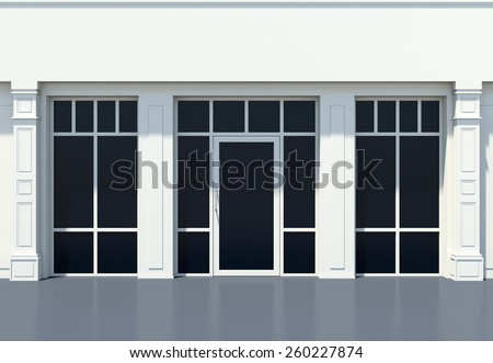 Shopfront with large windows. White store facade. - stock photo