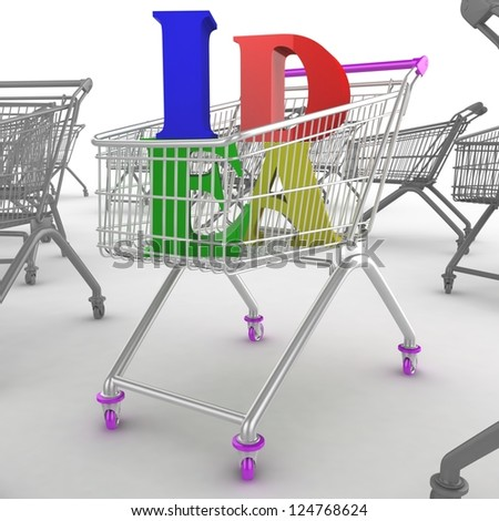 Shoping cart with idea text - stock photo