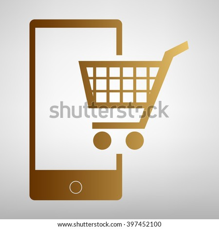 Shoping on smart phone sign - stock photo