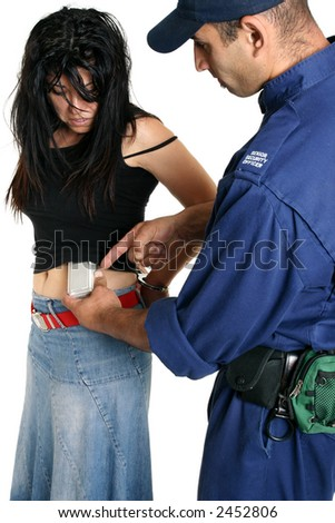 Shoplifting.   A security guard removes a concealed shoplifted item from a criminal
