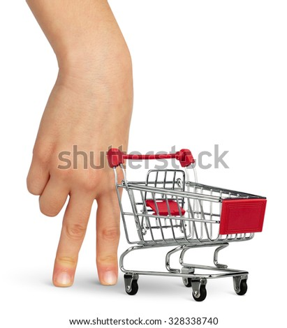 shopper concept, hand with shopping cart