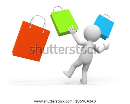 shopping / a people is looking at some shopping bags in surprise - stock photo