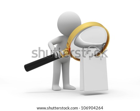 shopping/ a people is looking at the shopping bag with a magnifier
