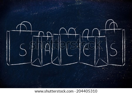 shopping and retail: bags with SALES writing - stock photo