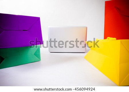 shopping bag and laptop for shopping onlint isolate on white background - stock photo