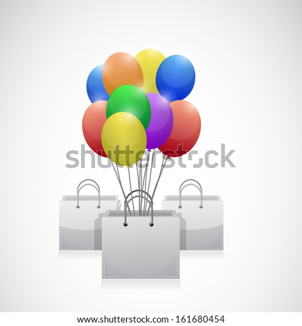shopping bag colorful balloons illustration design over white - stock photo