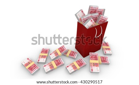 Shopping bag filled with new Chinese RMB isolated on white 3D illustration