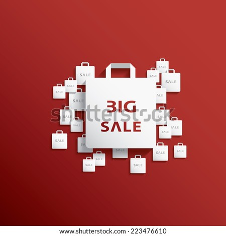 Shopping bag icon with Christmas sales theme for sales promotion and advertising. - stock photo