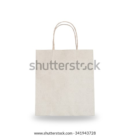 Shopping bag made of organic recycled paper eco friendly to nature with blank copy space for adding text: Isolated brown paper bag on white background with grainy recycle fiber texture pattern