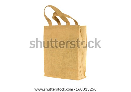 Shopping bag made out of recycled  sack with isolated white background - stock photo