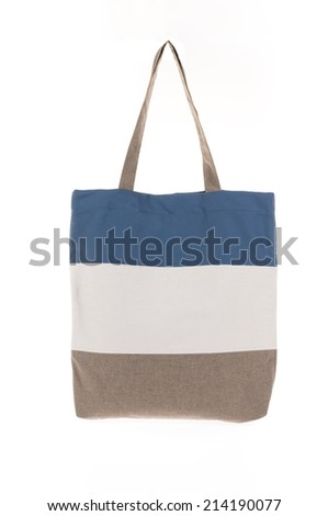 shopping bag made with woven fabric isolated on white background