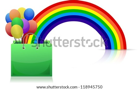shopping bag, rainbow and balloons illustration design
