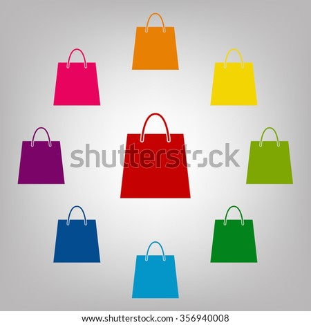 Shopping bag sign. Icons colorful set