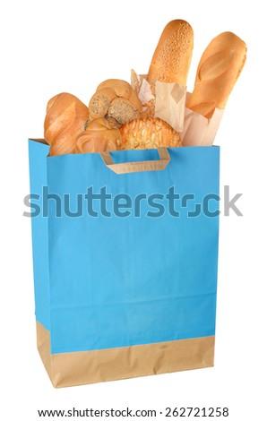 Shopping bag with baking isolated on white background. Full size - stock photo