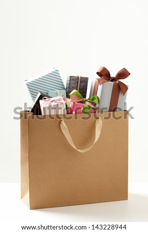 shopping bag with Gift box  of white background.  Gift boxes with shopping bag. Group of presents.  - stock photo