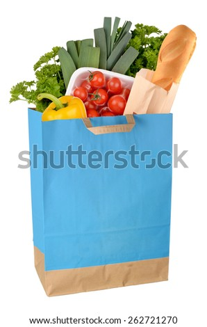Shopping bag with groceries isolated on white background. Full size - stock photo