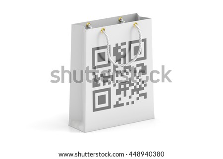 shopping bag with qr code, 3D rendering isolated on white background - stock photo