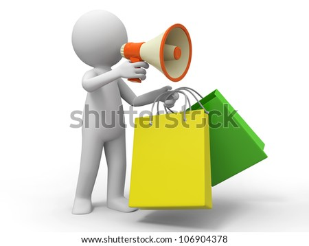 Shopping bags/ a people is using a megaphone - stock photo
