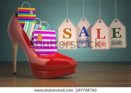 Shopping bags in women high heel shoes and labels sale. Concept of consumerism. 3d - stock photo