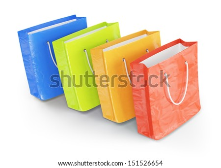 shopping bags isolated on white background. 3d rendered image