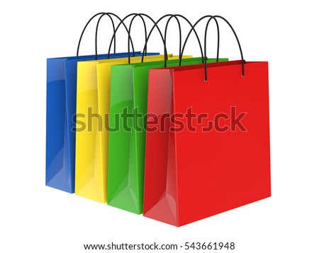 Shopping bags isolated on white background 3D rendering
