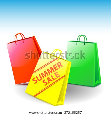 shopping bags - on one of it is standing summer sale