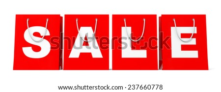 Shopping bags on white background. Sale. 3D illustration. - stock photo