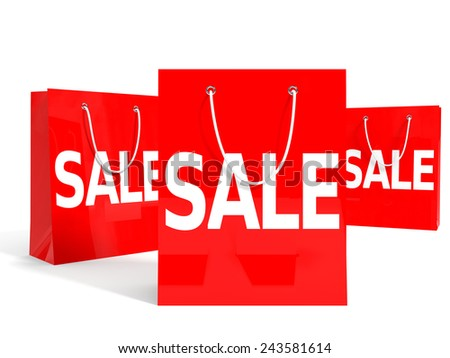 Shopping bags on white background. Sale. 3D illustration.