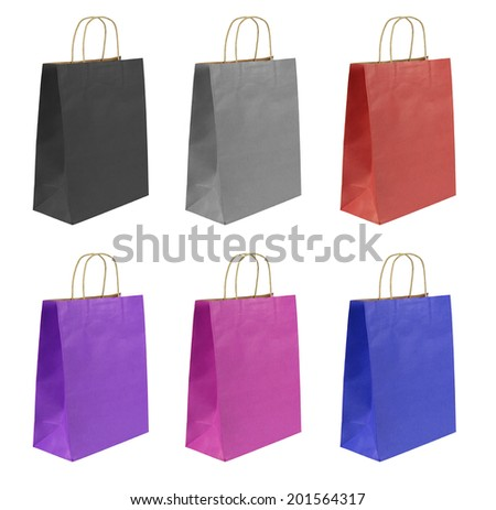 Shopping bags set isolated on white background.