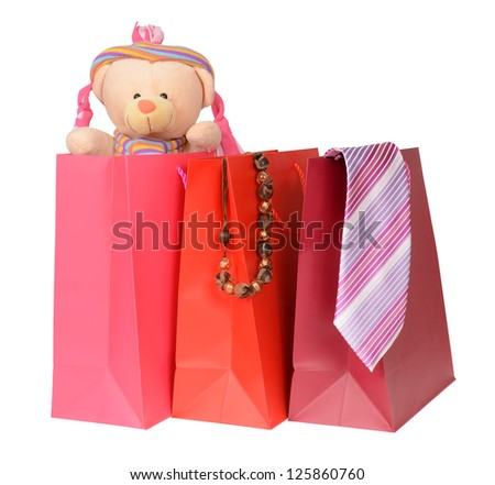 shopping bags with gifts - stock photo