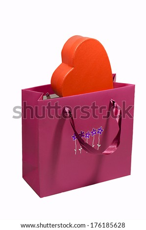 shopping bags with heart  - stock photo