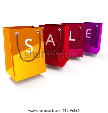 Shopping bags with sale 3D rendering