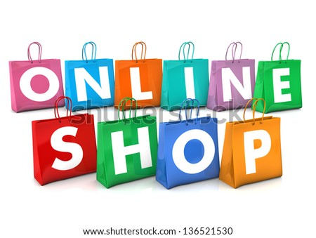 Shopping bags with white text Online Shop. White background. - stock photo