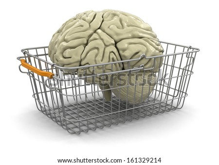 Shopping Basket and brain (clipping path included) - stock photo