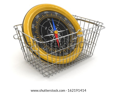 Shopping Basket and Compass (clipping path included) - stock photo