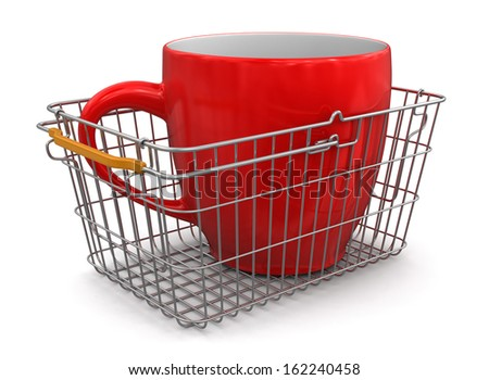Shopping Basket and Cup (clipping path included) - stock photo