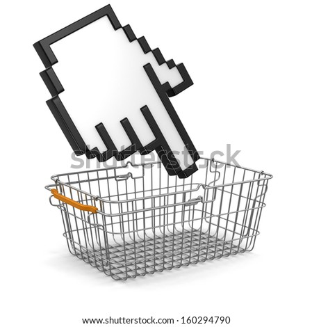 Shopping Basket and Cursor (clipping path included) - stock photo