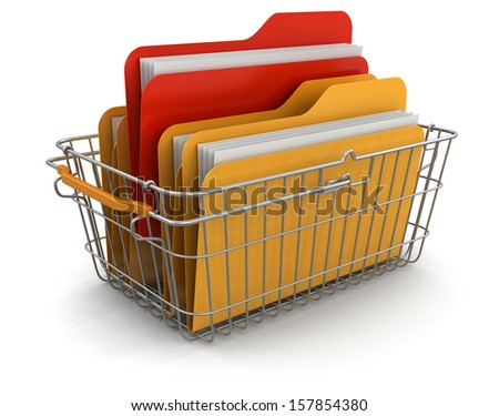 Shopping Basket and Folders (clipping path included) - stock photo