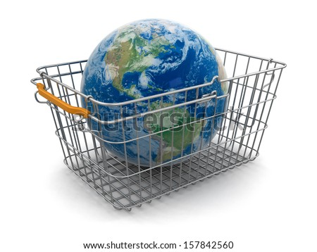 Shopping Basket and Globe (clipping path included) - stock photo